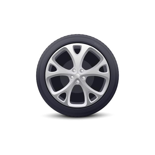 Rueda de automóvil con disco metálico y protector de neumáticos de goma realista. pieza de vehículo para talleres y concesionarios de reparación de automóviles. Vector Premium