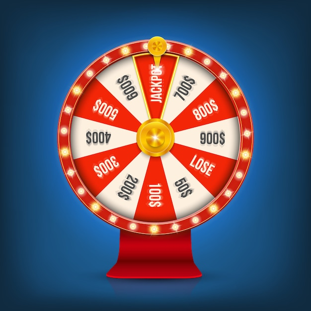 Rueda del bote de giro del casino de giro de la fortuna 3d. Vector Premium