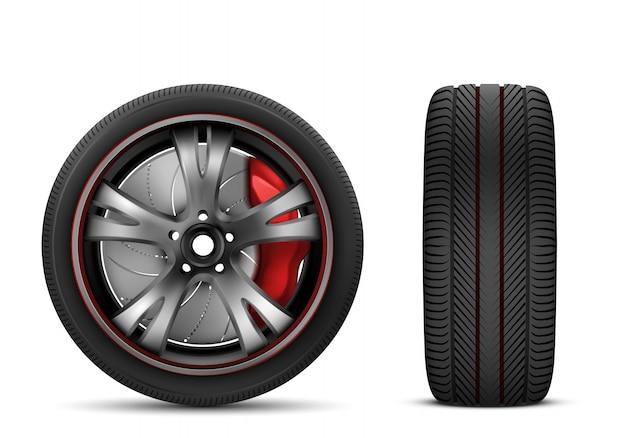 Rueda de coche deportivo con freno rojo vector gratuito