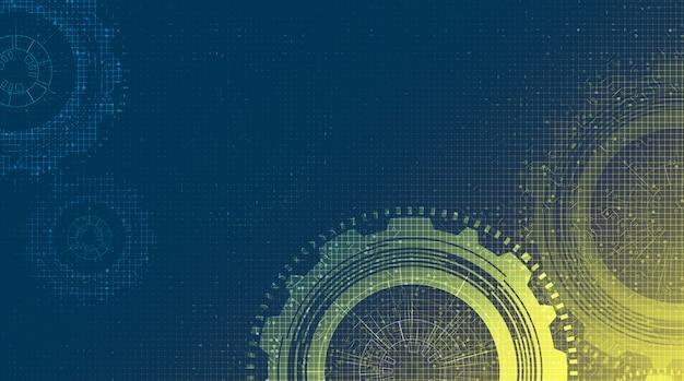 Rueda de engranajes y gallo de la tecnología cibernética con la línea fondo, ilustración del circuito. Vector Premium