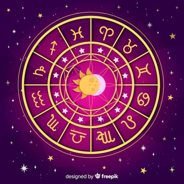 Rueda del zodíaco en fondo espacial vector gratuito