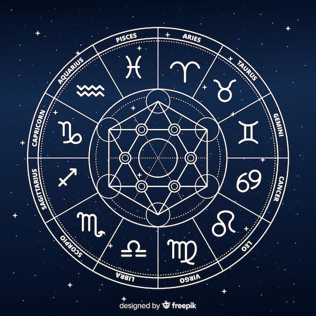 Rueda del zodíaco plana sobre fondo de galaxia Vector Premium