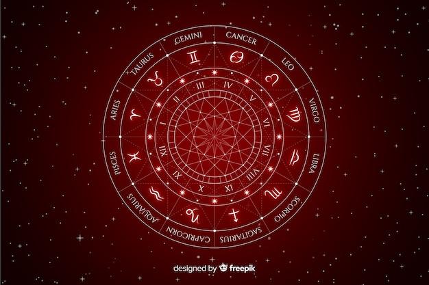 Rueda del zodíaco sobre fondo espacial vector gratuito