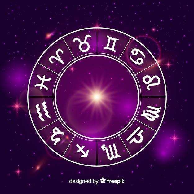 Rueda zodiaco sobre fondo de espacio vector gratuito