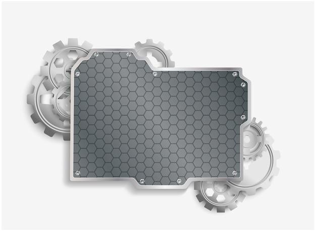 Ruedas metal cogs con fondo de acero Vector Premium