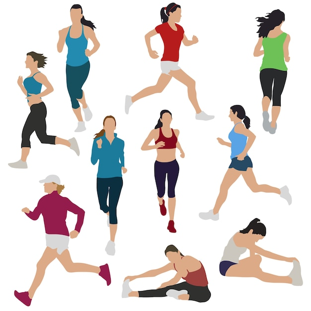 Runners girls womans urban sport silhouette galería de imágenes Vector Premium