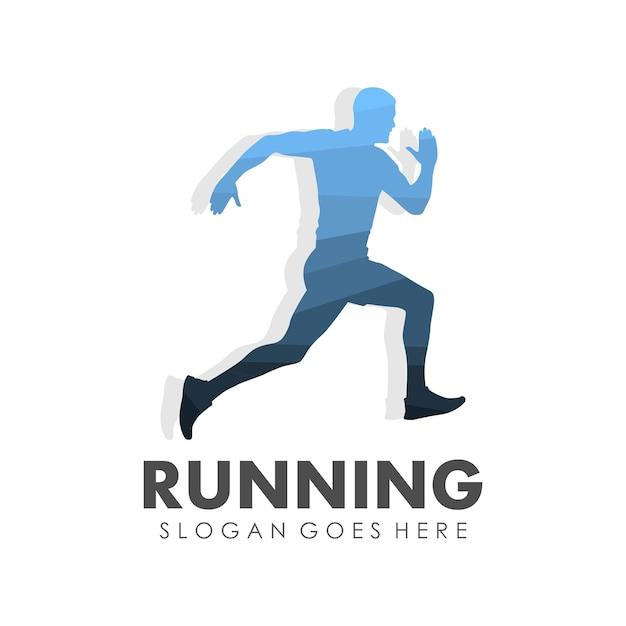 running man jogging y marat243n de dise241o de plantilla de