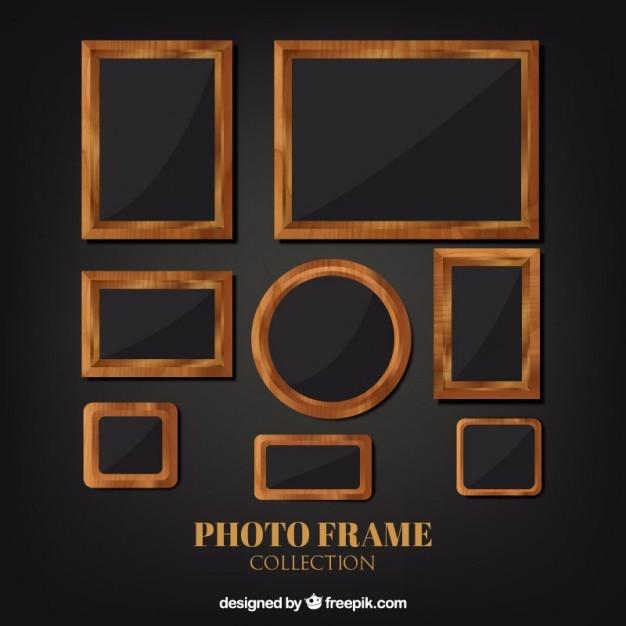 Rústicos marcos de fotografía de madera vector gratuito