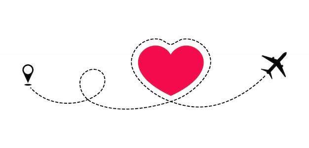 Ruta del amor en el avión. viaje romántico. la línea punteada traza la ruta del avión. viajes románticos recién casados. luna de miel y aventura. Vector Premium