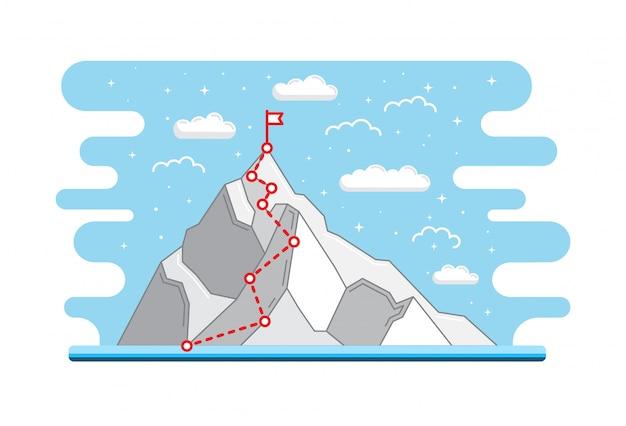 Ruta de escalada al pico. trayectoria empresarial en progreso hacia el éxito Vector Premium