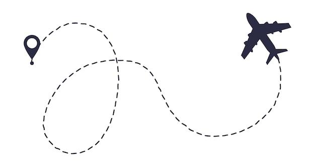Ruta de ruta de línea de avión. punto de inicio y trazo de línea de trazos. Vector Premium
