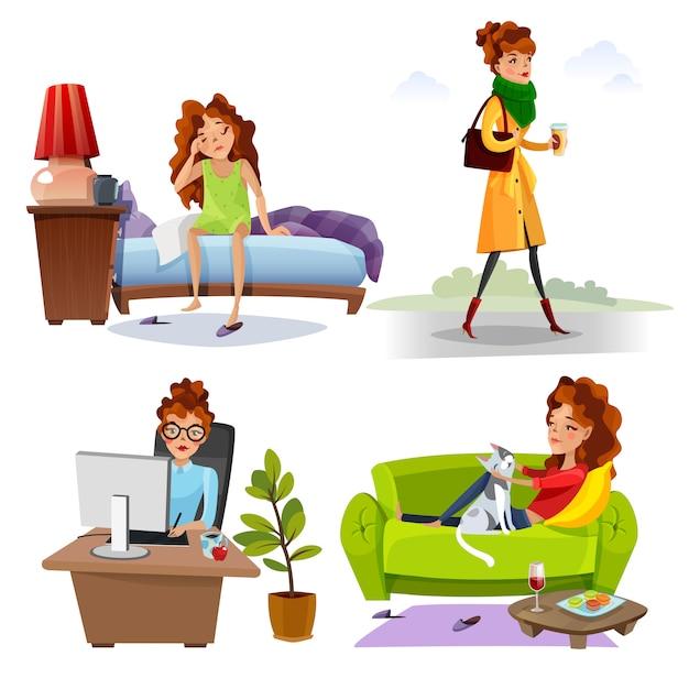 Rutina diaria de trabajo mujer iconos planos vector gratuito