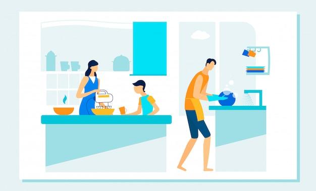 Rutina familiar feliz en la cocina. ocio, deberes. Vector Premium