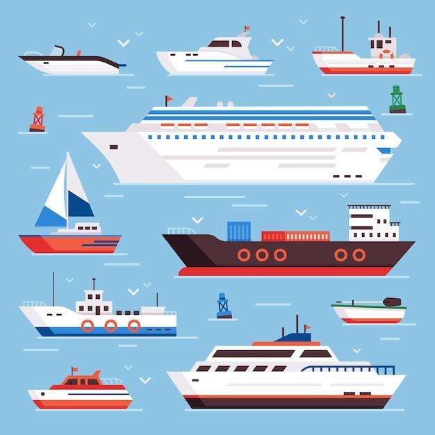 S barco de dibujos animados barco de motor crucero transatlántico barco de vela barco de vela yate velocidad flotante mar boya barco y vela marina barcos de pesca Vector Premium