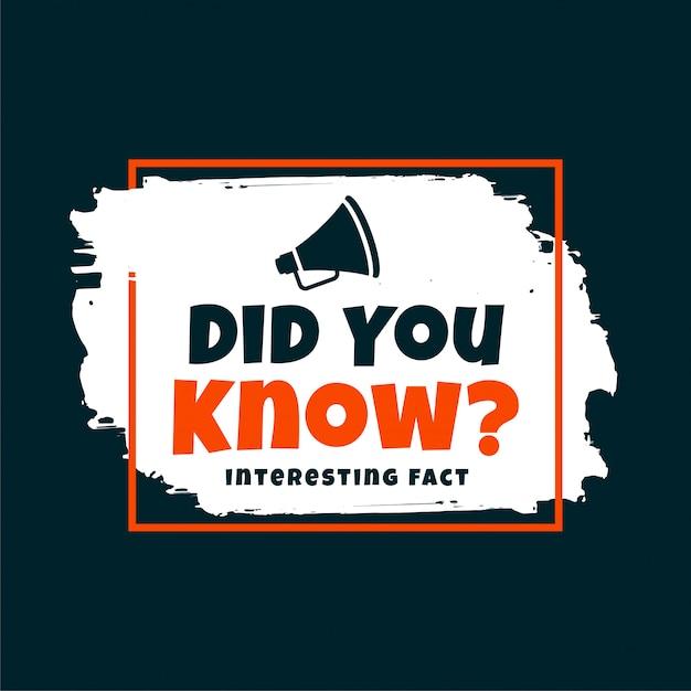 ¿sabías un hecho interesante? vector gratuito