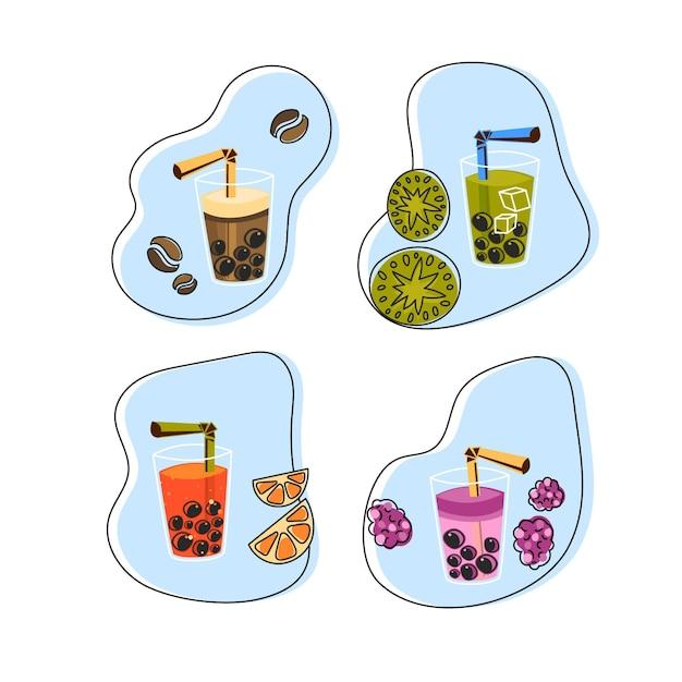 Sabores de té de burbujas dibujados a mano Vector Premium