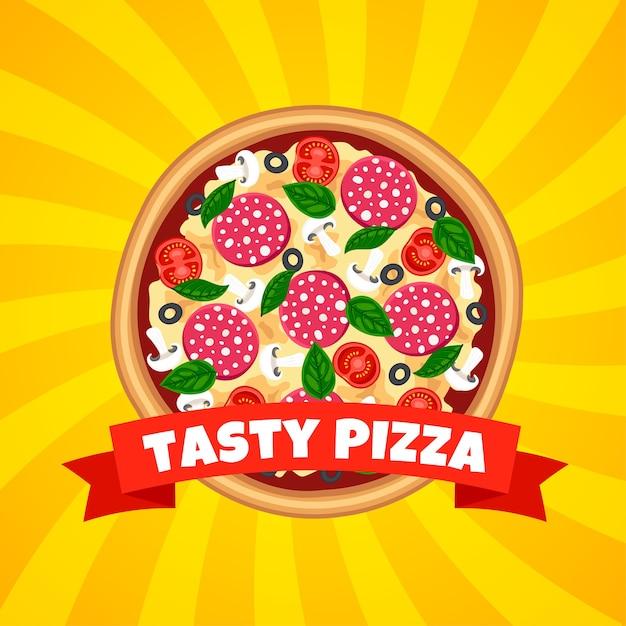 Sabrosa pizza con vista superior de la cinta sobre fondo amarillo rayado para web, anuncio, menú. Vector Premium