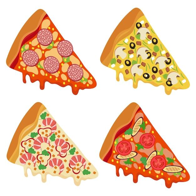 Sabrosas rebanadas de pizza fresca aislado sobre fondo blanco. Vector Premium