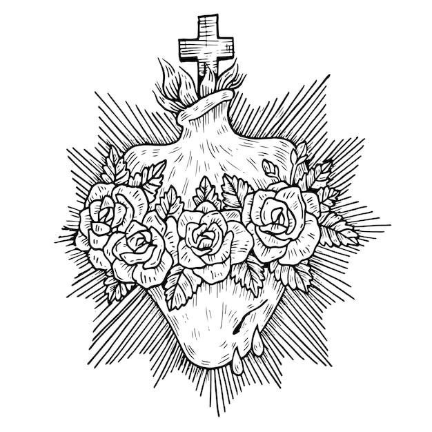 Sagrado corazón religioso en blanco y negro vector gratuito