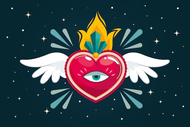Sagrado corazón vector gratuito