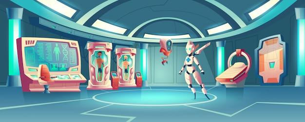 Sala de anabiosis con robot médico y astronautas. vector gratuito