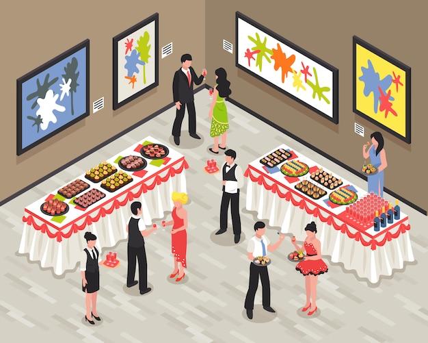 Sala de banquetes con invitados personal de alimentos y bebidas en las paredes de las mesas con imágenes brillantes ilustración vectorial isométrica vector gratuito