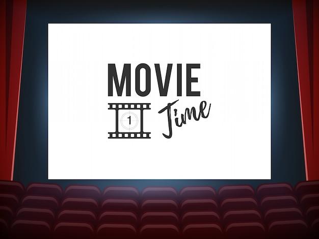 Sala de cine con pantalla blanca Vector Premium