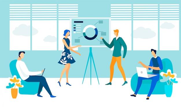 Sala de conferencias de negocios reunión plana ilustración Vector Premium