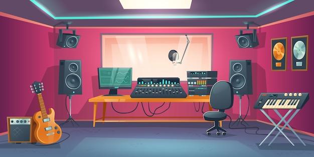 Sala de control del estudio de música y cabina de cantante. vector gratuito