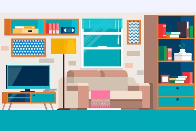 Sala de estar con muebles. diseño gráfico fresco de la sala de estar ...