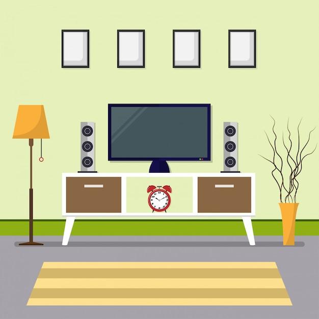 Sala de estar con zona de tv y marco en diseño de estilo plano ...