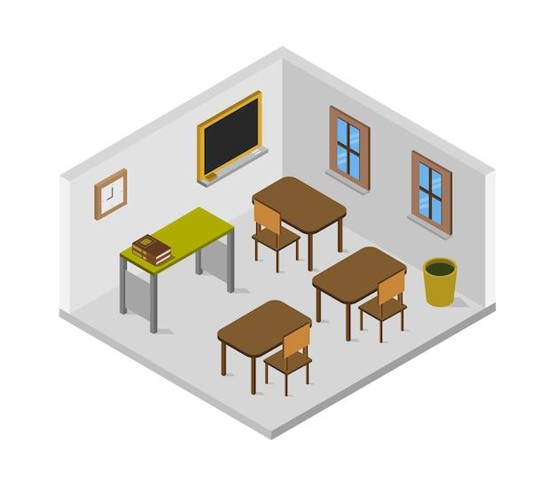 Sala de la escuela isométrica vector gratuito