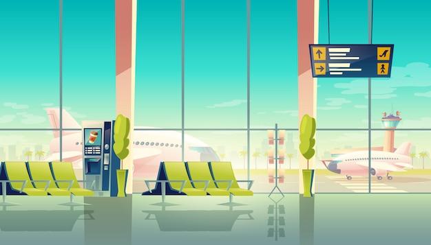 Sala de espera del aeropuerto: grandes ventanales, asientos y aviones en el aeródromo. concepto de viaje vector gratuito