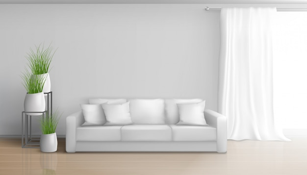 Sala de estar casera, minimalista, interior soleado en colores blancos con sofá en piso laminado, cortina larga y pesada en barra de ventana, macetas de cerámica con ilustración de plantas verdes vector gratuito