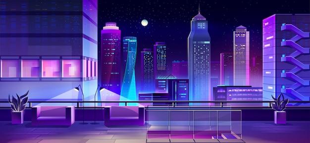 Sala de estar en la ciudad de dibujos animados techo de la casa vector gratuito