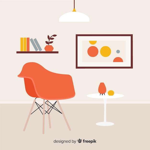 Sala de estar moderna con diseño plano vector gratuito