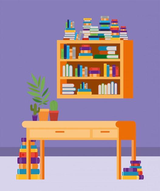 Sala de estudio en casa con libros. vector gratuito