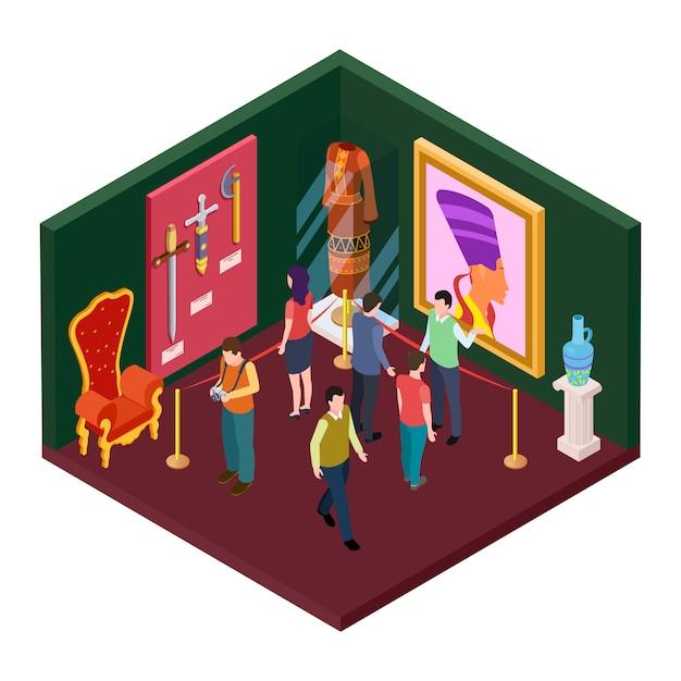 Sala de exposiciones del museo con ilustración isométrica de objetos de arte Vector Premium