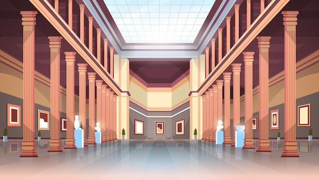 Sala de la galería de arte del museo histórico clásico con columnas y techo de cristal interior antiguas exposiciones y esculturas colección plana horizontal Vector Premium