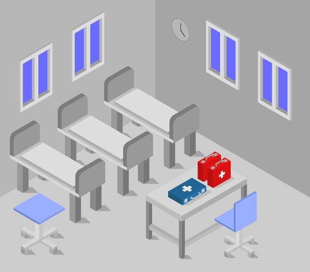 Sala de hospital isométrica Vector Premium