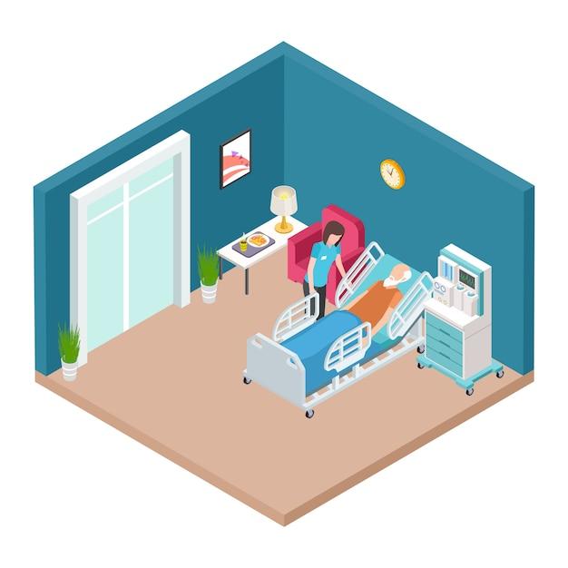 Sala de hospital, vector interior de reanimación. enfermera isométrica cuidando a hombre mayor. Vector Premium