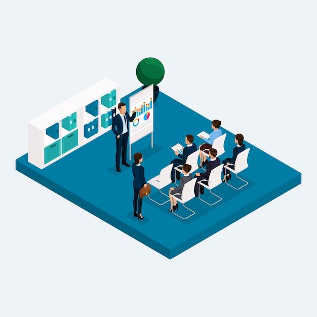 Sala isométrica oficina de varios pisos, reunión de coaches de capacitación de gpuppovoe Vector Premium