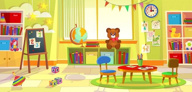 Sala de juegos para niños. kindergarten niño apartamento juego aula aprendizaje juguetes sala preescolar clase mesa sillas Vector Premium