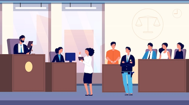 Sala de justicia Vector Premium