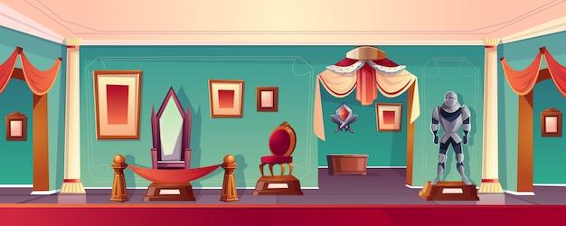 Sala del museo del castillo con el trono. vector gratuito