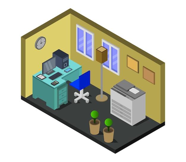 Sala de oficina isométrica vector gratuito