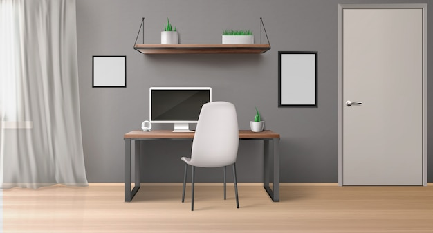 Sala de oficina vacía con monitor en el escritorio, silla, estante con plantas y marcos de cuadros negros. vector gratuito