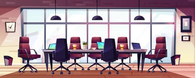 Sala de reuniones de negocios, dibujos animados del interior de la sala de juntas de la empresa. vector gratuito
