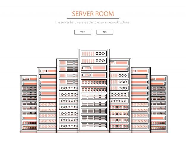 Sala de servidores y centro de datos Vector Premium