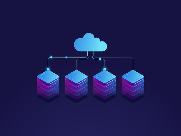 Sala de servidores, icono de almacenamiento en la nube, centro de datos y concepto de base de datos, proceso de intercambio de datos vector gratuito